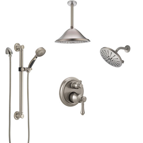 Delta Cassidy Stainless Steel Finish Integrated Diverter Shower System Control Handle, Showerhead, Ceiling Showerhead, Grab Bar Hand Spray SS24997SS8
