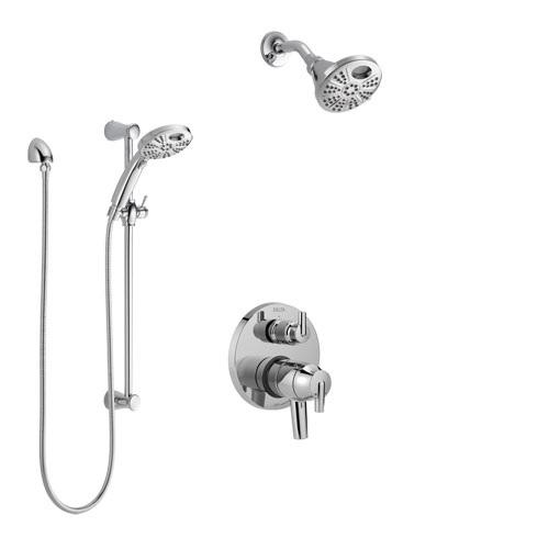 Delta Trinsic Chrome Finish Shower System with Dual Control, Integrated 3-Setting Diverter, Temp2O Showerhead, and Hand Shower with Slidebar SS2785911