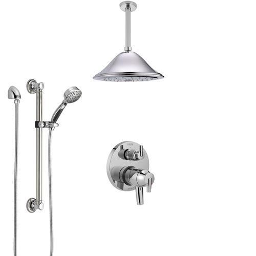 Delta Trinsic Chrome Shower System with Dual Control Handle, Integrated Diverter, Ceiling Mount Showerhead, and Hand Shower with Grab Bar SS278591