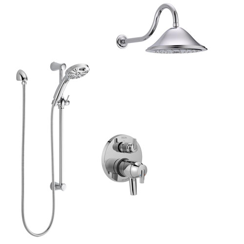 Delta Trinsic Chrome Finish Shower System with Dual Control, Integrated 3-Setting Diverter, Showerhead, and Temp2O Hand Shower with Slidebar SS278593