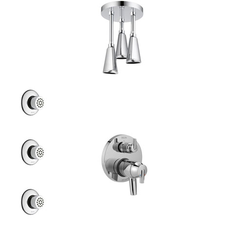 Delta Trinsic Chrome Finish Shower System with Dual Control Handle, Integrated Diverter, Ceiling Mount Showerhead, and 3 Body Sprays SS278594