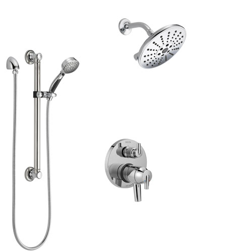 Delta Trinsic Chrome Finish Shower System with Dual Control Handle, Integrated 3-Setting Diverter, Showerhead, and Hand Shower with Grab Bar SS278596