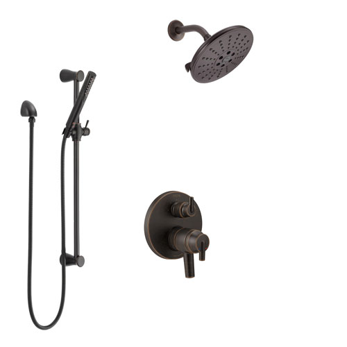 Delta Trinsic Venetian Bronze Shower System with Dual Control Handle, Integrated Diverter, Showerhead, and Hand Shower with Slidebar SS27859RB2
