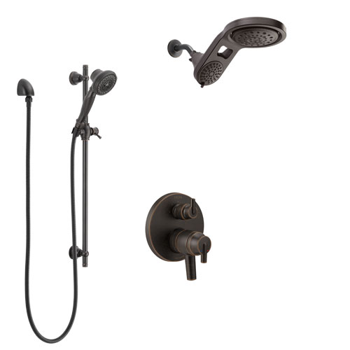 Delta Trinsic Venetian Bronze Shower System with Dual Control Handle, Integrated Diverter, Dual Showerhead, and Hand Shower with Slidebar SS27859RB5