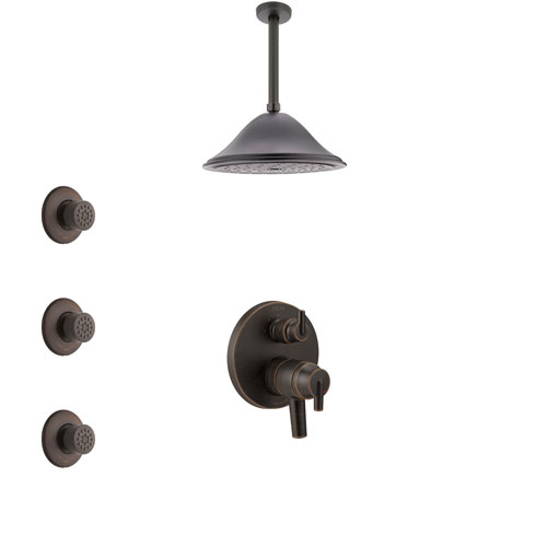 Delta Trinsic Venetian Bronze Shower System with Dual Control Handle, Integrated Diverter, Ceiling Mount Showerhead, and 3 Body Sprays SS27859RB7