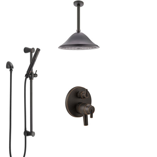Delta Trinsic Venetian Bronze Shower System with Dual Control Handle, Integrated Diverter, Ceiling Mount Showerhead, and Hand Shower SS27859RB8