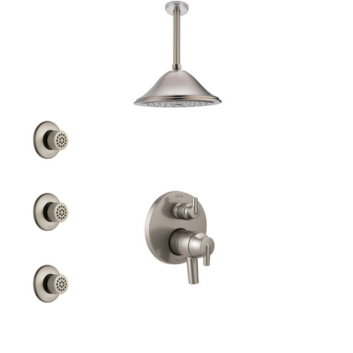 Delta Trinsic Dual Control Handle Stainless Steel Finish Shower System, Integrated Diverter, Ceiling Mount Showerhead, and 3 Body Sprays SS27859SS6