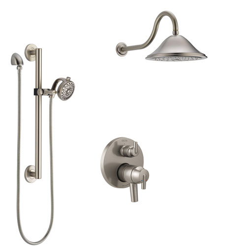 Delta Trinsic Stainless Steel Finish Shower System with Dual Control Handle, Integrated Diverter, Showerhead, and Hand Shower with Grab Bar SS27859SS9