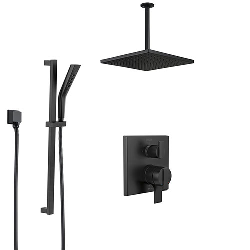Delta Ara Matte Black Finish Shower System with Integrated Diverter Control, Hand Shower with Slide Bar, and Large Ceiling Mount Showerhead SS27867BL2