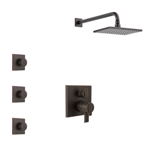 Delta Ara Venetian Bronze Finish Shower System with Dual Control Handle, Integrated 3-Setting Diverter, Showerhead, and 3 Body Sprays SS27867RB10
