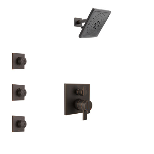 Delta Ara Venetian Bronze Finish Shower System with Dual Control Handle, Integrated 3-Setting Diverter, Showerhead, and 3 Body Sprays SS27867RB11