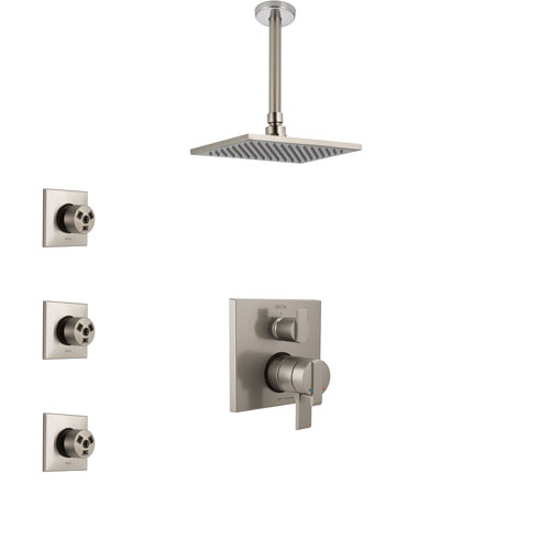 Delta Ara Stainless Steel Finish Shower System with Dual Control Handle, Integrated Diverter, Ceiling Mount Showerhead, and 3 Body Sprays SS27867SS11