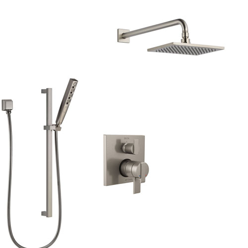 Delta Ara Stainless Steel Finish Shower System with Dual Control Handle, Integrated Diverter, Showerhead, and Hand Shower with Slidebar SS27867SS8