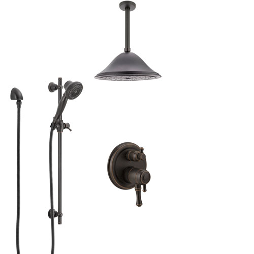 Delta Cassidy Venetian Bronze Shower System with Dual Control Handle, Integrated Diverter, Ceiling Mount Showerhead, and Hand Shower SS27897RB7