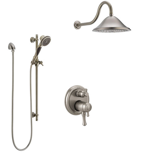 Delta Cassidy Stainless Steel Finish Shower System with Dual Control Handle, Integrated Diverter, Showerhead, and Hand Shower with Slidebar SS27897SS2