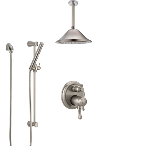 Delta Cassidy Dual Control Handle Stainless Steel Finish Shower System, Integrated Diverter, Ceiling Mount Showerhead, and Hand Shower SS27897SS7