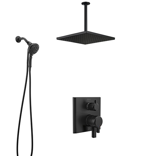 Delta Pivotal Matte Black Modern Integrated Diverter Shower System with Large Square Ceiling Rain Showerhead and SureDock Hand Spray SS27899BL8