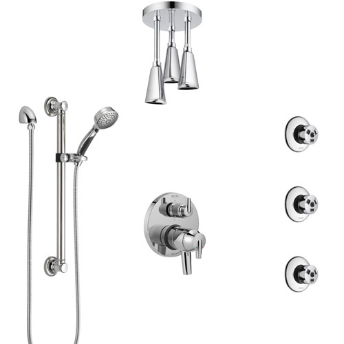 Delta Trinsic Chrome Shower System with Dual Control Handle, Integrated Diverter, Ceiling Showerhead, 3 Body Sprays, and Grab Bar Hand Shower SS279594