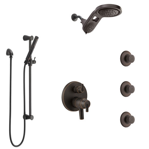 Delta Trinsic Venetian Bronze Shower System with Dual Control Handle, Integrated Diverter, Dual Showerhead, 3 Body Sprays, and Hand Shower SS27959RB10