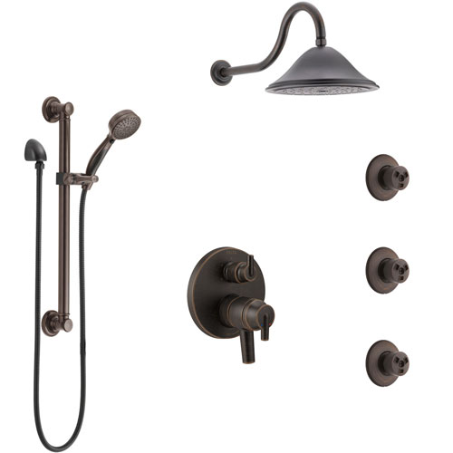 Delta Trinsic Venetian Bronze Shower System with Dual Control Handle, Integrated Diverter, Showerhead, 3 Body Sprays, Grab Bar Hand Spray SS27959RB12