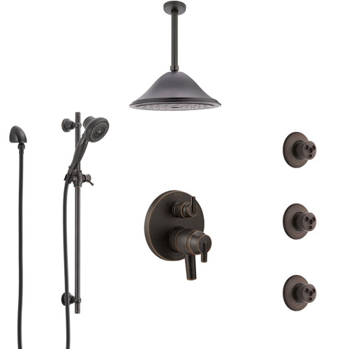 Delta Trinsic Venetian Bronze Shower System with Dual Control Handle, Integrated Diverter, Ceiling Showerhead, 3 Body Sprays, Hand Spray SS27959RB5