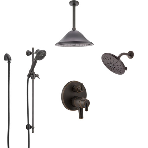 Delta Trinsic Venetian Bronze Shower System with Dual Control Handle, Integrated Diverter, Showerhead, Ceiling Showerhead, and Hand Shower SS27959RB6