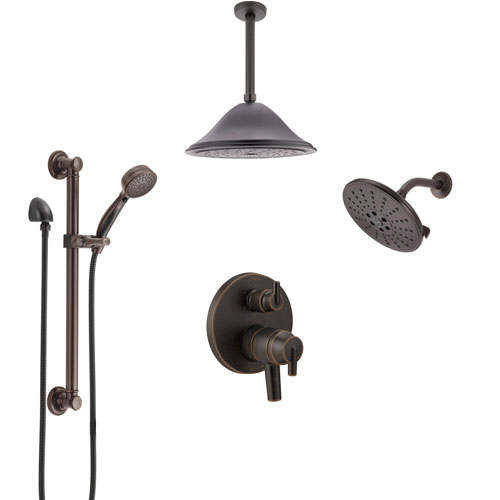 Delta Trinsic Venetian Bronze Dual Control Handle Shower System, Integrated Diverter, Showerhead, Ceiling Showerhead, Grab Bar Hand Spray SS27959RB7