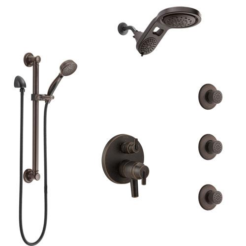 Delta Trinsic Venetian Bronze Dual Control Handle Shower System, Integrated Diverter, Dual Showerhead, 3 Body Jets, Grab Bar Hand Spray SS27959RB9