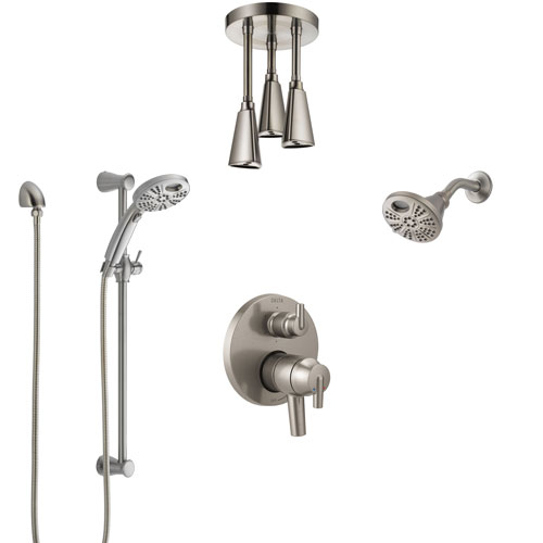Delta Trinsic Dual Control Stainless Steel Finish Integrated Diverter Shower System, Temp2O Showerhead, Hand Shower, and Ceiling Showerhead SS27959SS1