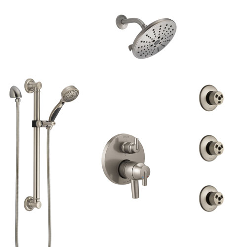 Delta Trinsic Dual Control Handle Stainless Steel Finish Integrated Diverter Shower System, Showerhead, 3 Body Sprays, Grab Bar Hand Spray SS27959SS4