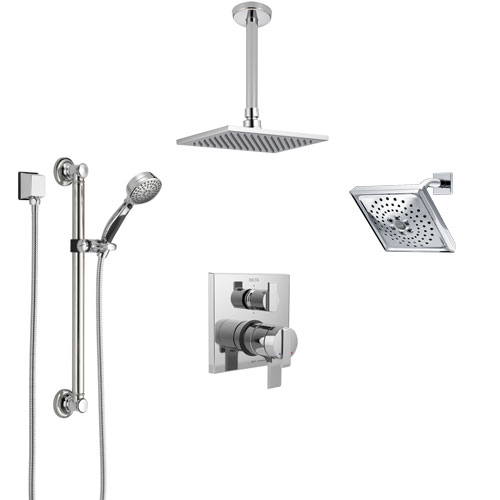 Delta Ara Chrome Shower System with Dual Control Handle, Integrated Diverter, Showerhead, Ceiling Mount Showerhead, and Grab Bar Hand Shower SS2796711