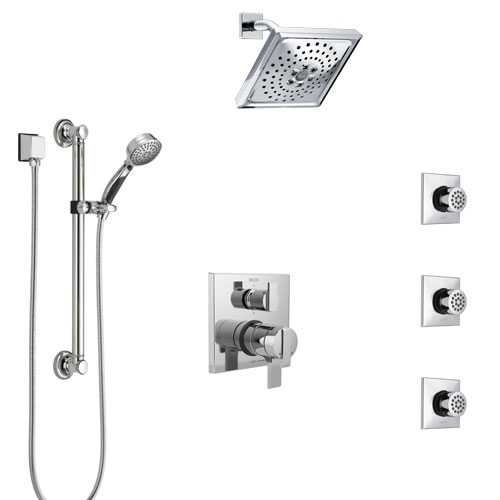 Delta Ara Chrome Shower System with Dual Control Handle, Integrated Diverter, Showerhead, 3 Body Sprays, and Hand Shower with Grab Bar SS279673