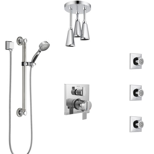 Delta Ara Chrome Shower System with Dual Control Handle, Integrated Diverter, Ceiling Showerhead, 3 Body Sprays, and Grab Bar Hand Shower SS279674