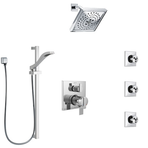 Delta Ara Chrome Finish Shower System with Dual Control Handle, Integrated 6-Setting Diverter, Showerhead, 3 Body Sprays, and Hand Shower SS279677