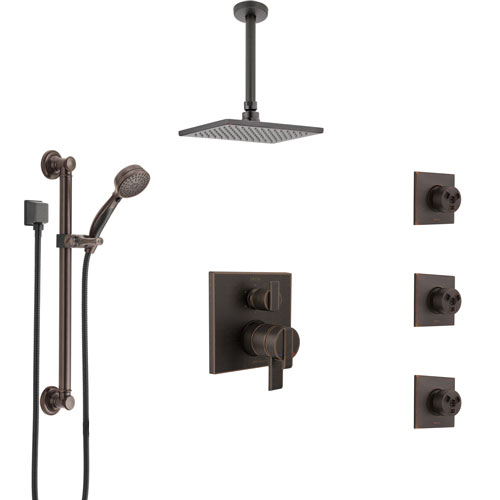 Delta Ara Venetian Bronze Shower System with Dual Control Handle, Integrated Diverter, Ceiling Showerhead, 3 Body Jets, Grab Bar Hand Spray SS27967RB2