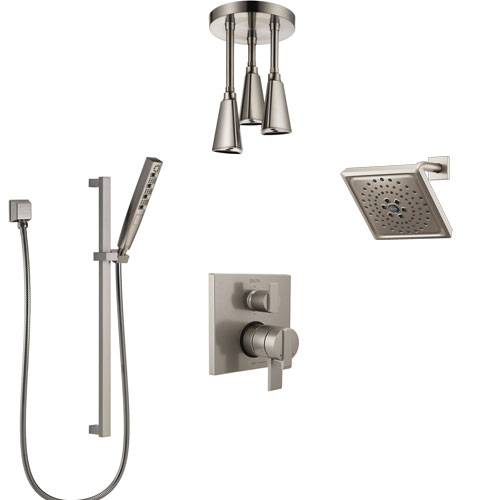 Delta Ara Dual Control Handle Stainless Steel Finish Shower System, Integrated Diverter, Showerhead, Ceiling Showerhead, and Hand Shower SS27967SS10