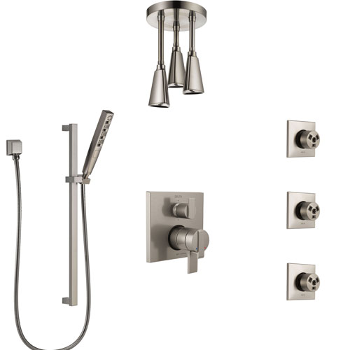 Delta Ara Dual Control Handle Stainless Steel Finish Integrated Diverter Shower System, Ceiling Showerhead, 3 Body Sprays, and Hand Shower SS27967SS11