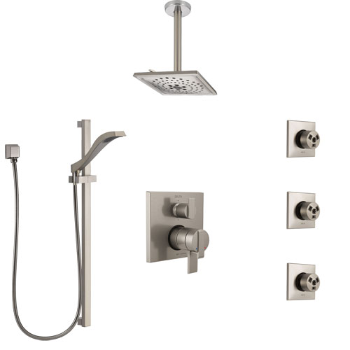 Delta Ara Dual Control Handle Stainless Steel Finish Integrated Diverter Shower System, Ceiling Showerhead, 3 Body Sprays, and Hand Shower SS27967SS12