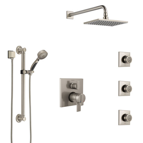 Delta Ara Dual Control Handle Stainless Steel Finish Integrated Diverter Shower System, Showerhead, 3 Body Sprays, and Grab Bar Hand Shower SS27967SS4