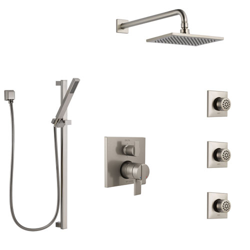 Delta Ara Dual Control Handle Stainless Steel Finish Shower System, Integrated Diverter, Showerhead, 3 Body Sprays, and Hand Shower SS27967SS5