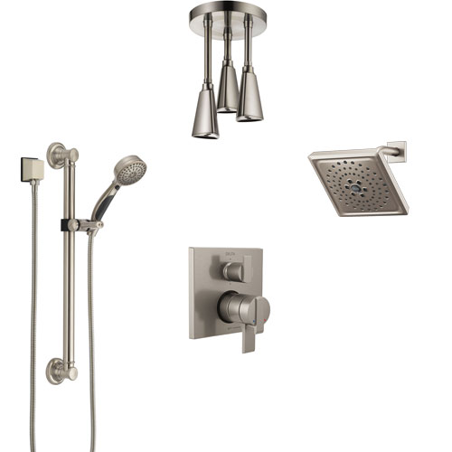 Delta Ara Dual Control Handle Stainless Steel Finish Integrated Diverter Shower System, Showerhead, Ceiling Showerhead, Grab Bar Hand Spray SS27967SS9
