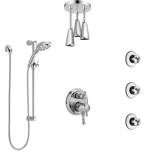 Delta Cassidy Chrome Dual Control Handle Shower System, Integrated Diverter, Ceiling Mount Showerhead, 3 Body Sprays, and Temp2O Hand Shower SS279979