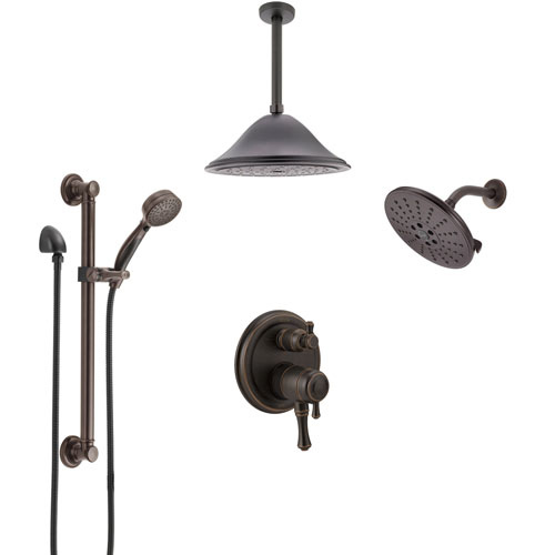 Delta Cassidy Venetian Bronze Dual Control Handle Shower System, Integrated Diverter, Showerhead, Ceiling Showerhead, Grab Bar Hand Spray SS27997RB9