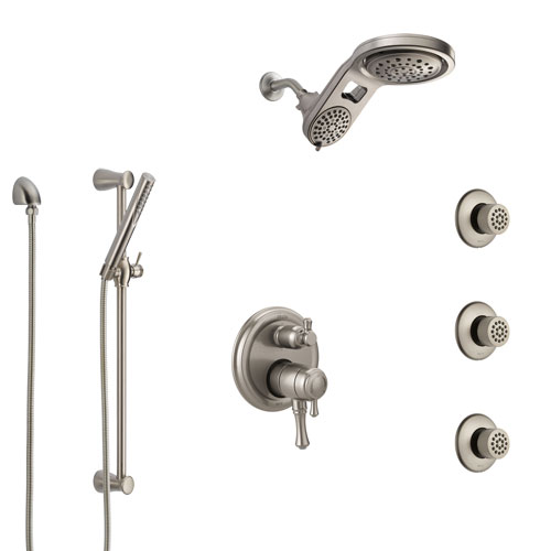 Delta Cassidy Dual Control Handle Stainless Steel Finish Integrated Diverter Shower System, Dual Showerhead, 3 Body Sprays, and Hand Spray SS27997SS11