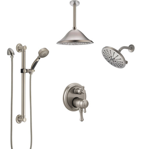 Delta Cassidy Dual Control Handle Stainless Steel Finish Shower System, Showerhead, Ceiling Showerhead, Grab Bar Hand Spray SS27997SS8