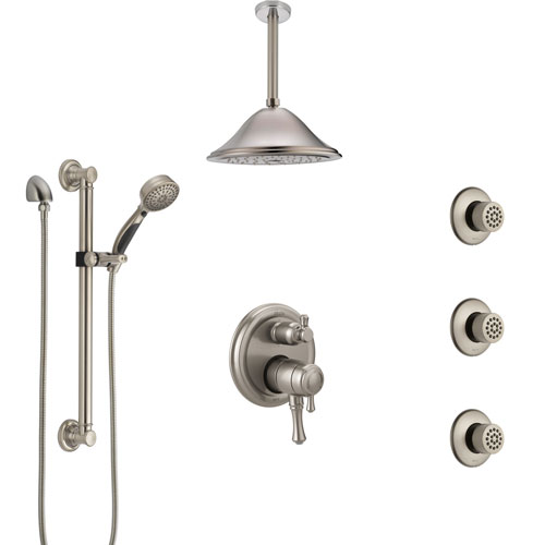 Delta Cassidy Dual Control Handle Stainless Steel Finish Shower System, Ceiling Showerhead, 3 Body Jets, Grab Bar Hand Spray SS27997SS9