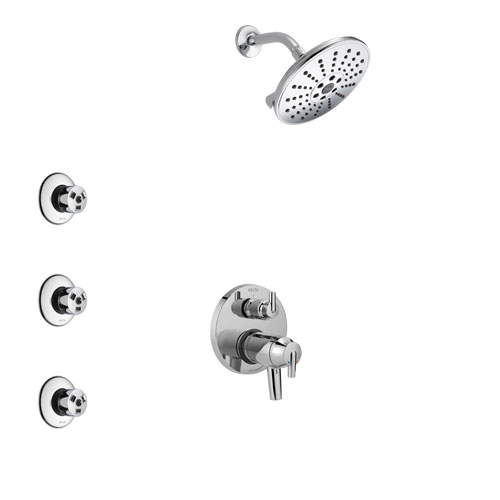 Delta Trinsic Chrome Finish Shower System with Dual Thermostatic Control Handle, Integrated Diverter, Showerhead, and 3 Body Sprays SS27T85910