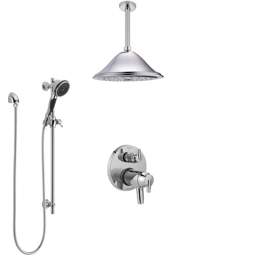 Delta Trinsic Chrome Shower System with Dual Thermostatic Control Handle, Integrated Diverter, Ceiling Mount Showerhead, and Hand Shower SS27T85912