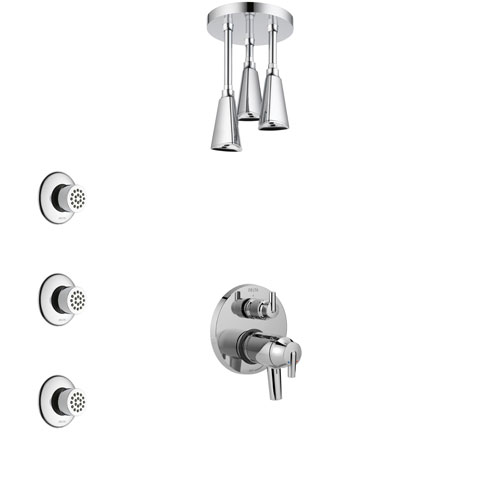 Delta Trinsic Chrome Shower System with Dual Thermostatic Control Handle, Integrated Diverter, Ceiling Mount Showerhead, and 3 Body Sprays SS27T8595