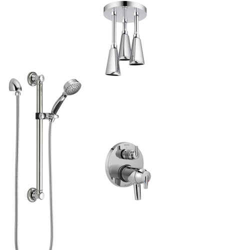 Delta Trinsic Chrome Integrated Diverter Shower System with Dual Thermostatic Control, Ceiling Mount Showerhead, and Grab Bar Hand Shower SS27T8596